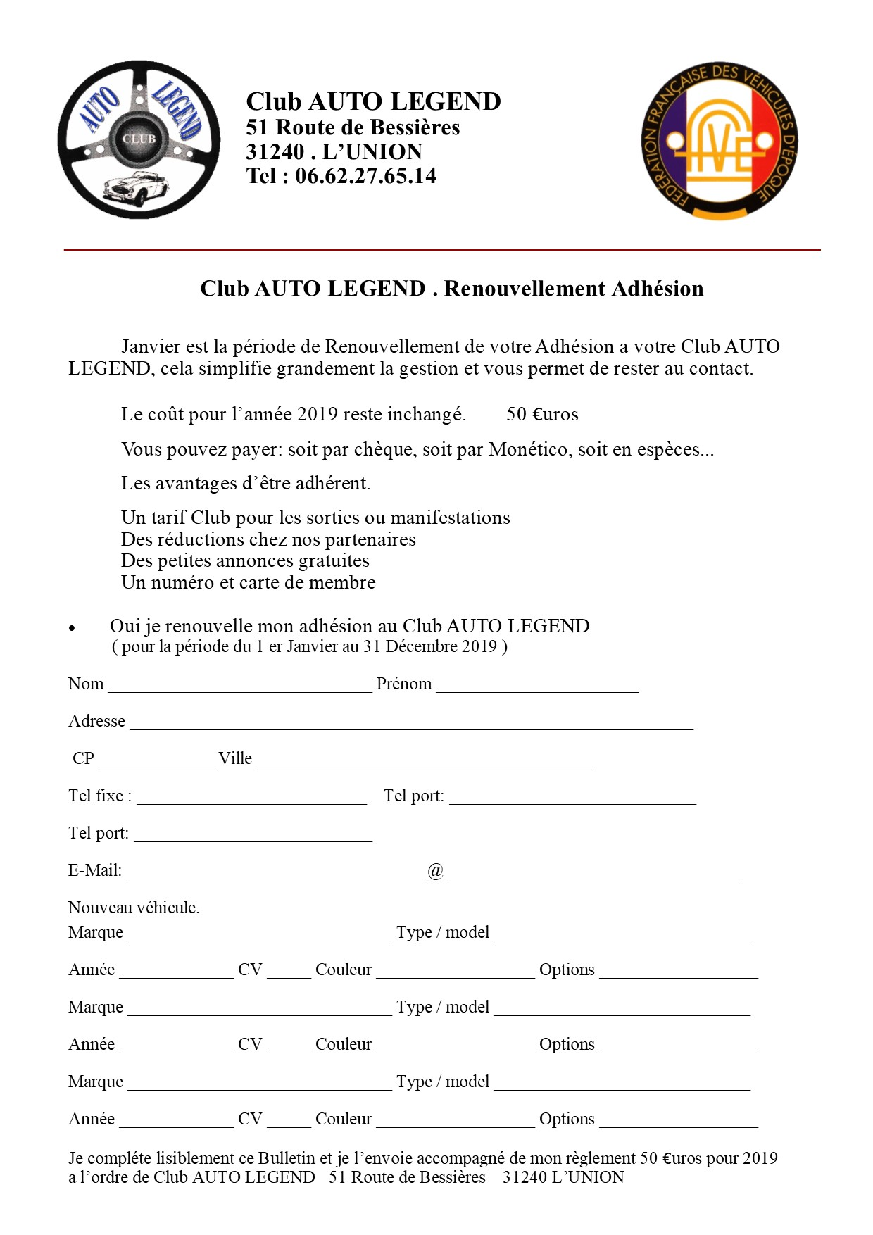 Club renouvellement adhesion 2019
